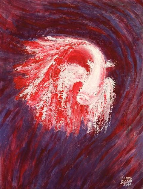 Betta Splendens-Acrílico a espátula sobre tablero 9 mm. regruesado-65x50x3,4 cms