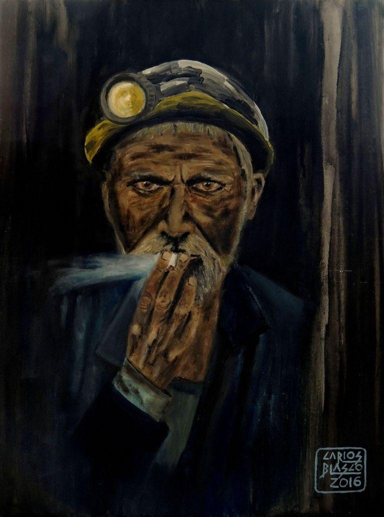 FUMAR MATA - Versionando a Steve McCurry - Minero en Pul-i-Khumri, Afganistán - Óleo sobre DM 40x30x0,3 cms.