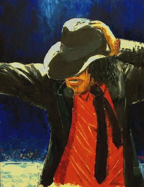 MICHAEL JACKSON - Óleo a espátula sobre tabla - 65x50 cms.