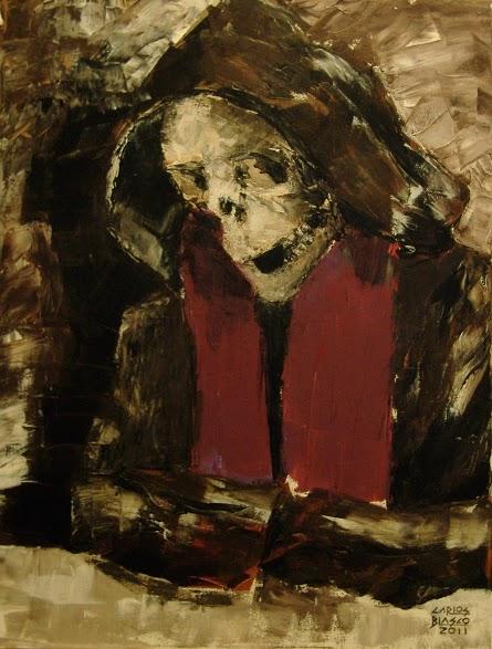 MUERTE - Acrílico a espátula sobre lienzo-65x50 cms.