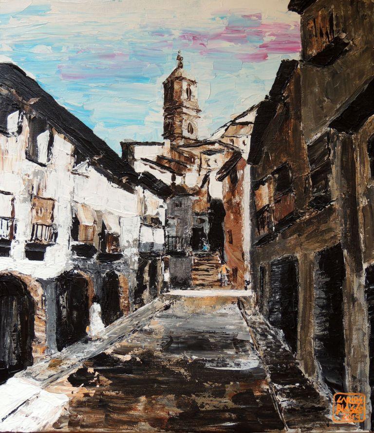 Plaza de los Almudines - Alcañiz - Acrílico a espátula sobre lienzo - 43x38 cms.