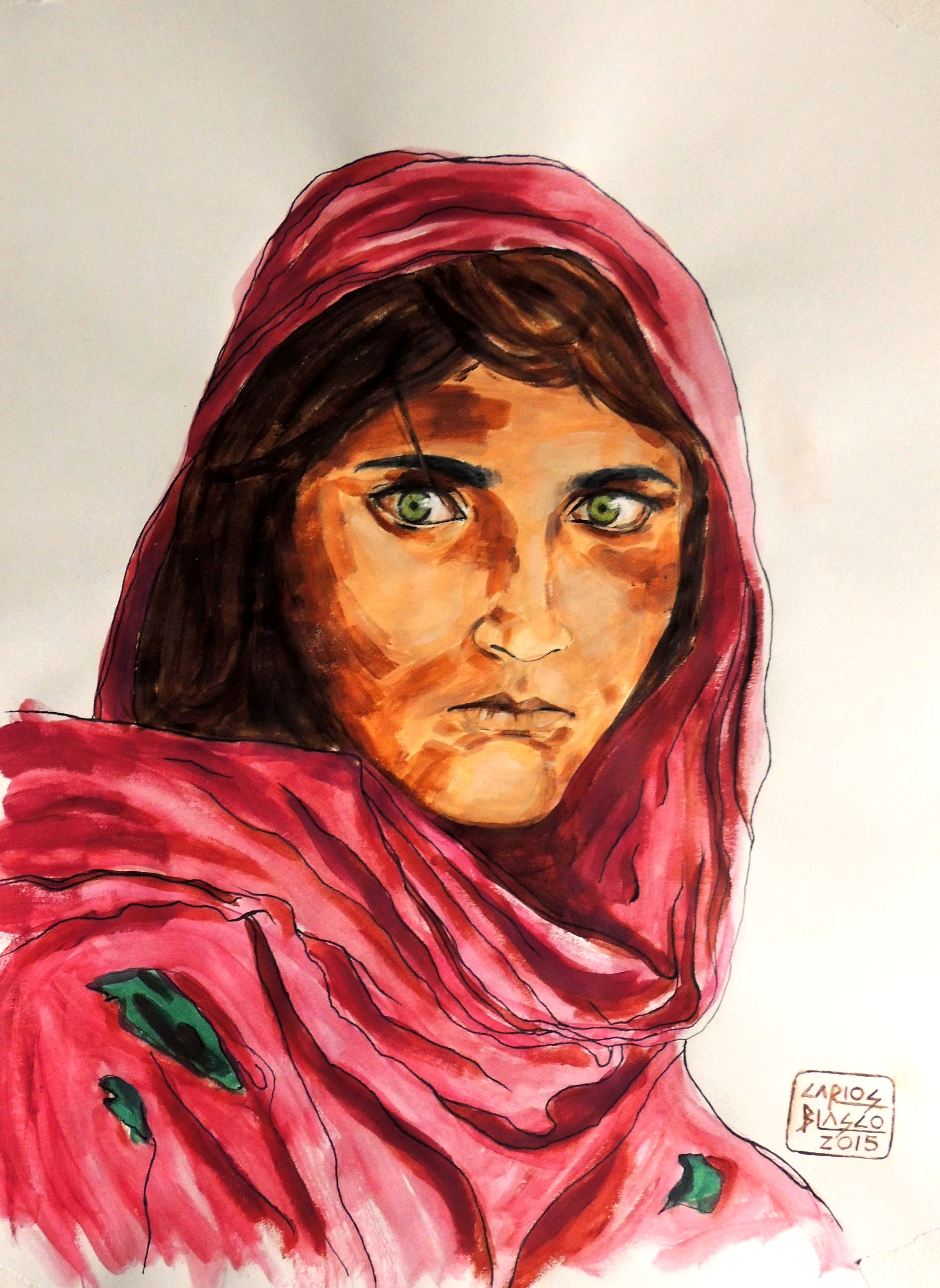VERSIONANDO A STEVE McCURRY - Muchacha de Peshawar, Pakistán
