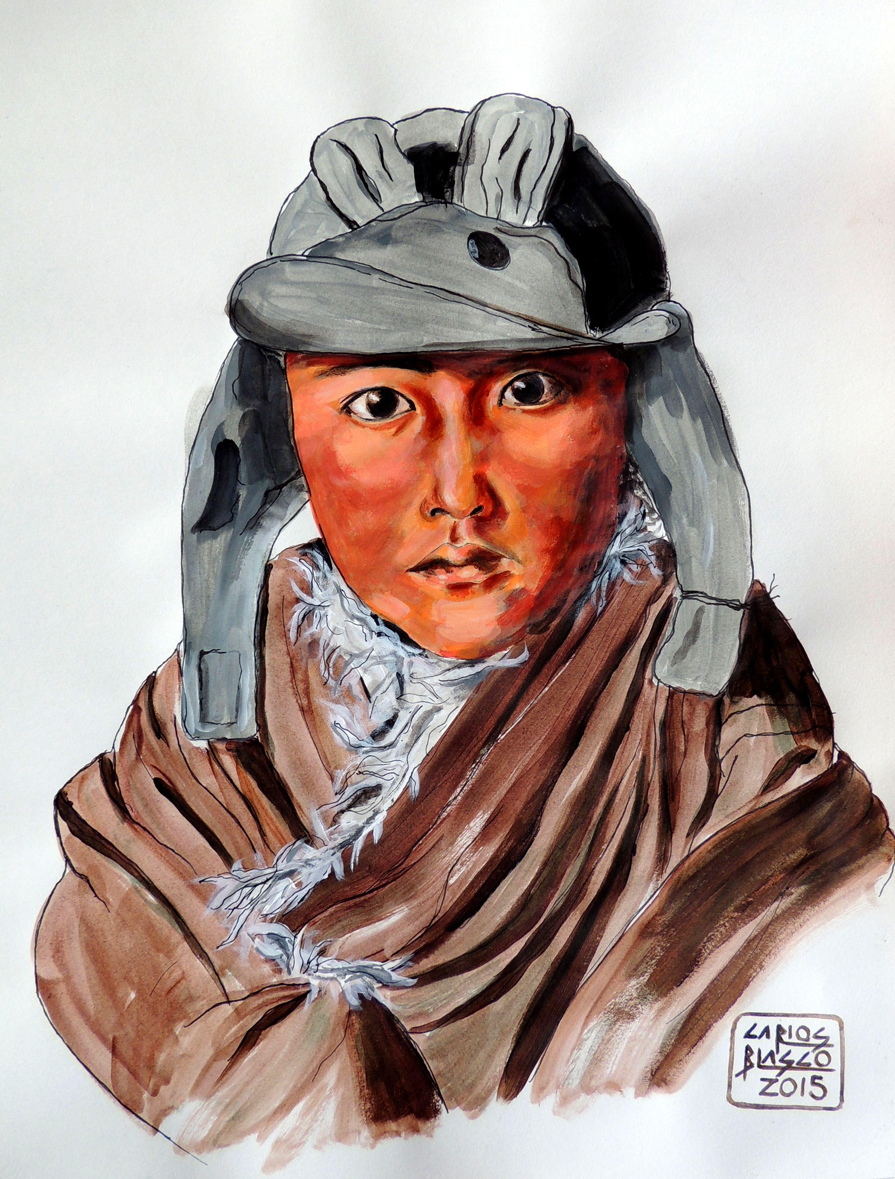VERSIONANDO A STEVE McCURRY - Niño en Amdo ,Tibet - Acrílico sobre papel - 40x29 cms.