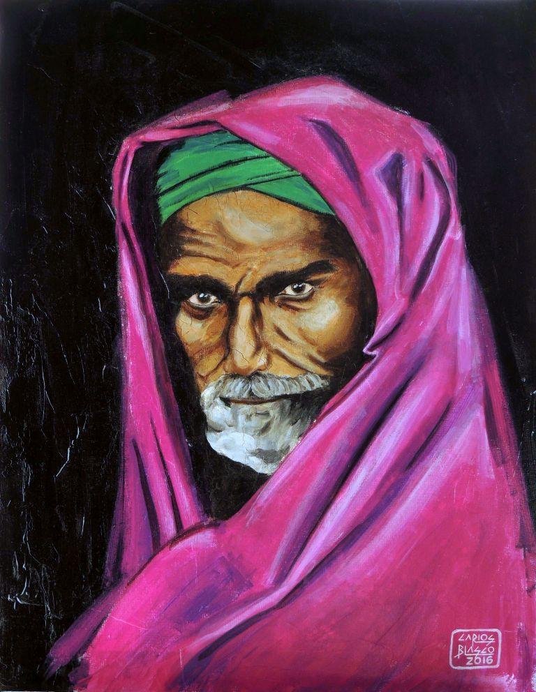 ...Y AL PRÓJIMO, COMO A TÍ MISMO - Versionando a Steve McCurry - Hombre de Bombay, India - Técnica mixta sobre lienzo - 65x50 cms.