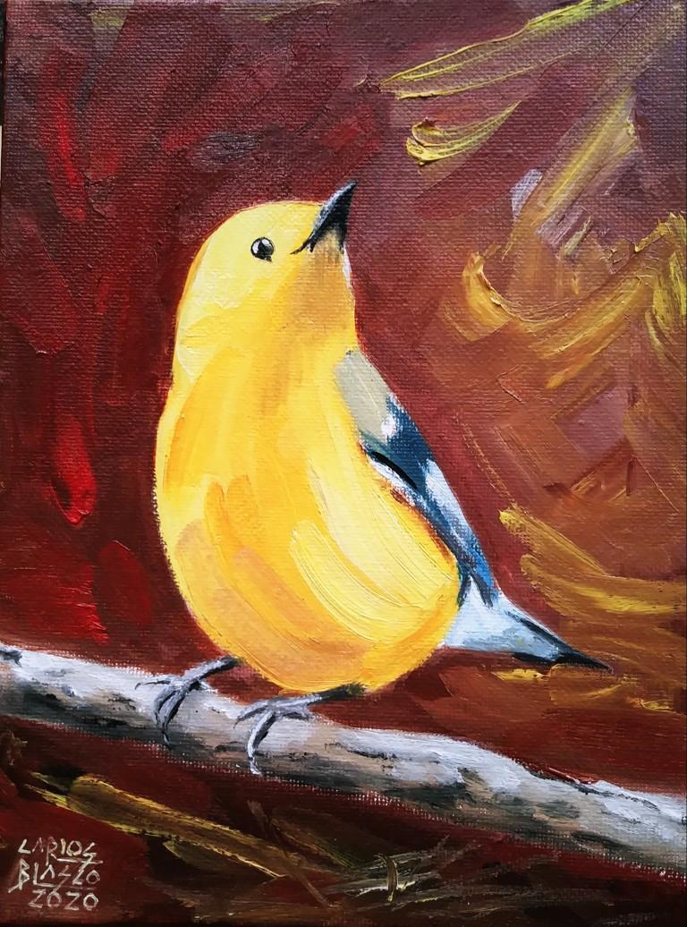 """18 - De la serie """"El baile de los pajaritos"""" Óleo sobre lienzo. 20x15 cms."""
