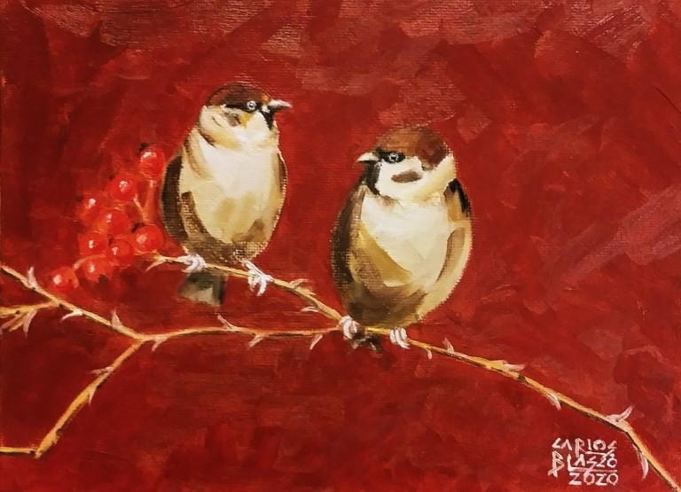"""19 - De la serie """"El baile de los pajaritos"""" Óleo sobre lienzo. 15×20 cms."""