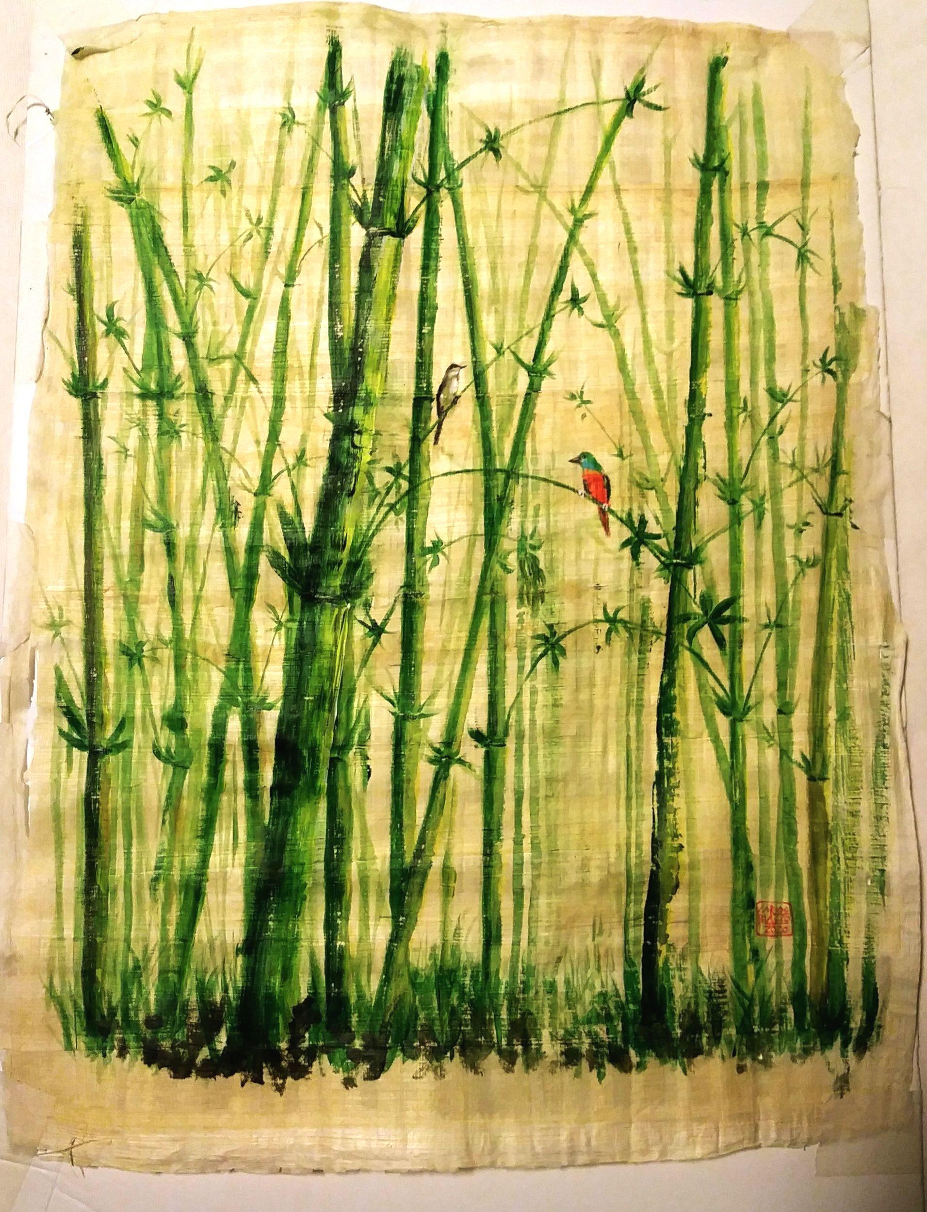 BOSQUE DE BAMBÚ CON 2 PÁJAROS - Acrílico sobre papiro egipcio - 43x33 cms.